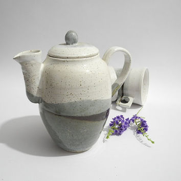 Special Offer - Teapot with Free Mug, Coffee Pot, OOAK -  Handmade Pottery in White and Gray