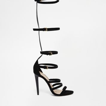 River Island Pachup Black T Bar Up The Leg Sandals