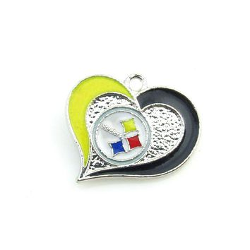 Hot selling 10pcs  Heart Alloy Enamel Pittsburgh Steelers Football team Logo charm Pendant For DIY Sports Women Jewelry