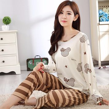 Women Cotton Pajamas Cartoon Sleepwear Sets Soft Pajamas Women Long sleeve Nightgown Fashion Style Cozy Pajamas Sets