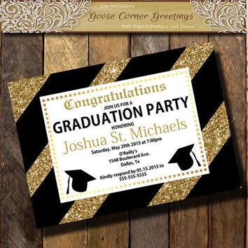 GLITTER Graduation Invitation Gold Black Announcement any color Class 2015 Boys Graduation invite High School College Graduate invite Cap