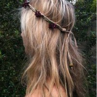 Burgundy Flower Hemp Headband from jennywens