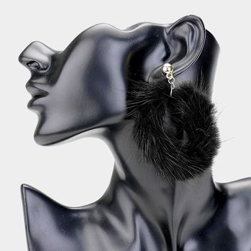 "2.70"" faux fur hoop earrings basketball wives"