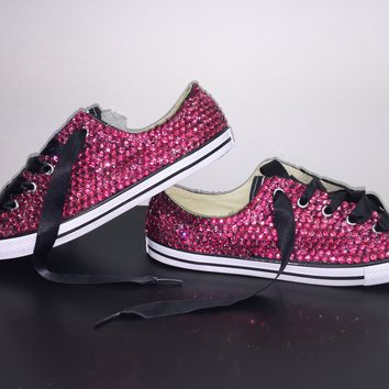 """Dainty All Star Converse """"Pretty In pink"""" With Fuchsia Pink Crystals & Black Laces"""