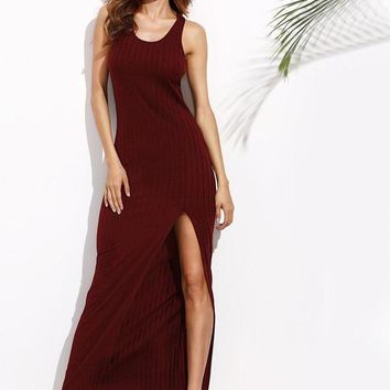 Rib Knit Basic Tank Dress Burgundy Women High Slit Maxi Dresses New Sexy Sheath Casual Long Dress
