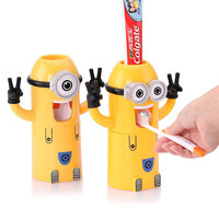 2016 Home Bathroom Products Cute Design Set Cartoon yellow  Minions Toothbrush Holder Automatic Toothpaste Dispenser Toothpaste