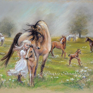 "girl and horse art ""Dreams of Horses"" Flat archival canvas or paper print, child wall art, horse painting, Laurie Shanholtzer"