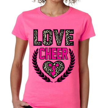 Love Cheer Leopard womens T-Shirts