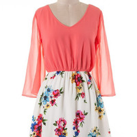 Embracing Spring Dress - Coral