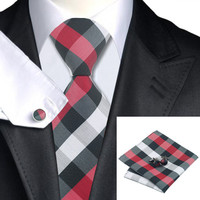 Black&White&Red Plaid 100% Silk Necktie Set For Men