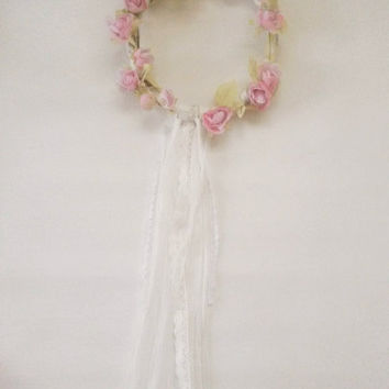 Floral wreath, rose wreath, wall hanging, pink rose, shabby wreath, rose decoration, door hanging,  pink wedding decor, wedding accessory