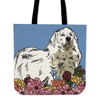 Illustrated Great Pyrenees Linen Tote Bag