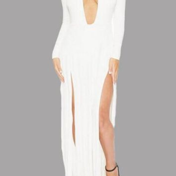 White Draped Double Slit Flowy Deep V-neck Homecoming Party Maxi Dress