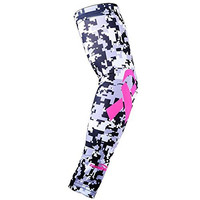 COOLOMG (1 Piece) Youth Adult Anti-slip Arm Sleeve Basketball Running Football Ribbon Breast Cancer Awareness Gray Black S