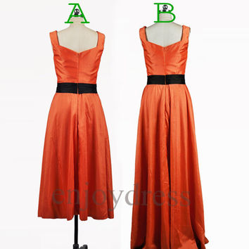 Custom Orange Taffeta Prom Dresses Bridesmaid Dresses Formal Evening Gowns Wedding Party Dresses Party Dresses Evening Dress Cheap Dress