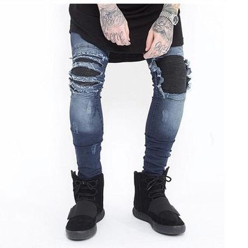 95a0687ab3d Skinny Jeans Men Ripped White Black Slim Stretch Hole Distressed Mens Biker  Jeans Medium Wash Streetwear