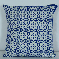"16x16"" Hand Block Cotton Throw Pillow Sham"