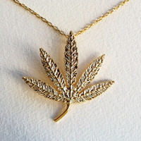 "Gold Large 3"" Bling Marijuana Necklace CHRONIC Hip Hop - pimp rap cannabis leaf men women marijuana jewelry costume ganja Snoop Dog Kid Cudi"