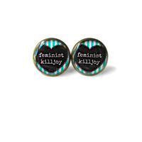 Teal & White Conversation Heart feminist killjoy Earring - Body Positive Riots Not Diets Jewelry -Pastel Goth Soft Grunge Riot GRRRL Jewelry