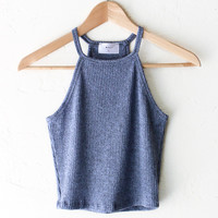 Knit Halter Crop Top - Dusty Blue