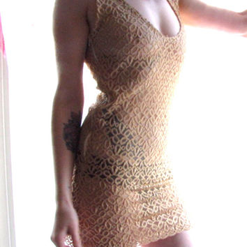 Handmade Womens Dress - lingerie sheer dress - lace dress - gold mini dress - summer - cover up - womens clothing - upcycled clothing