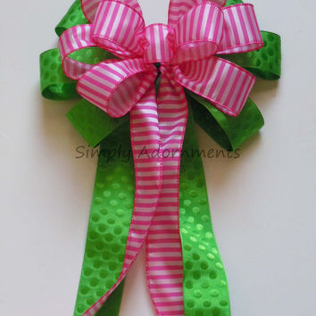 Fuchsia Pink Lime Green Themed Wedding Pew Bow Pink and Green Birthday Shower Party Decoration Church Aisles Bow Cake Table Decor