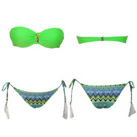 Green Printed Bikini Swimsuit