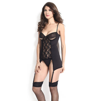 Hot Deal On Sale Cute Black Spaghetti Strap Lace Patchwork Hollow Out Bottom & Top Sexy Sleepwear Set Exotic Lingerie [6596410499]