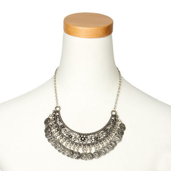 Antique Silver Crescent with Dangling Coins Statement Necklace