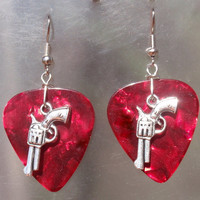 Pistols Earrings, Revolver Southwest Guitar Pick Jewelry, Silver Dangling Guns, Choice 12 Colors, Western Pierced or Clip On Earrings