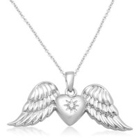 Sterling Silver Diamond-Accented Angel Wings Pendant Necklace, 18""