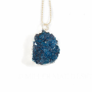 Druzy Necklace | Blue Druzy Necklace | Drusy Necklace | Druzzy Necklace | Minimalist Necklace | Boho Necklace | Bohemian Necklace