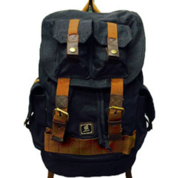 Black Canvas Heavy Duty Rucksack Backpack with Many Pockets