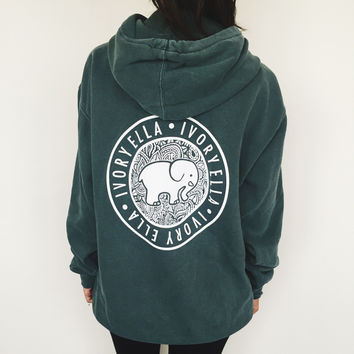 Oversized Forest Green Medallion Hoodie