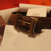 100cm brown Leather Hermes Belt W/Gold H Buckle