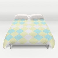 Checkers Yellow/Blue Duvet Cover by Dena Brender Photography