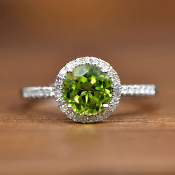 7mm Round Peridot 14K White Gold Pave Diamond Engagement/Promise, Wedding Ring