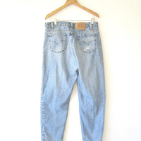Vintage LEVI STRAUSS 560 Orange Tab Loose Fit Tapered Leg Beat Up Distressed Worn In Jeans Sz 34