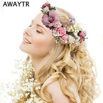 Bride Bohemian Flower Headband Festival Floral Garland Hair Band Headwear for Women Floral Crown Party Wedding Hair Wreaths