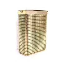 Vintage Cigarette Case Gold Metallic Chain Mail Mesh Smoking Container Box Minaudiere Purse Wallet