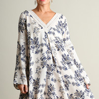 Floral Print Peasant Dress - Cream Mix