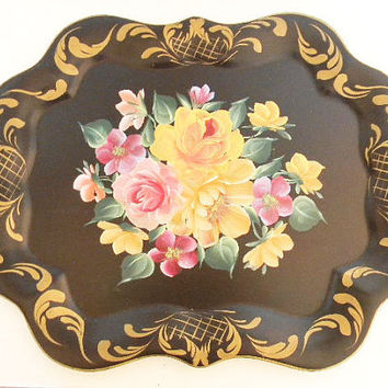 Tole Tray Roses Hand Painted Large - Cottage Shabby Chic 1950's Fabulous