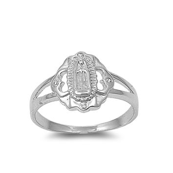 925 Sterling Silver CZ Virgin Mary Ring 13MM