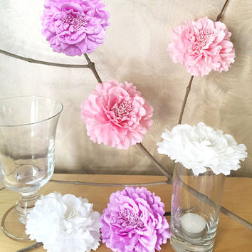 6 Pieces Set. 4.2inch Romantic White Pink Lavender Peonies Artficial Flowers Decor. Baby Girl Shower Decor. Rustic Wedding Decoration