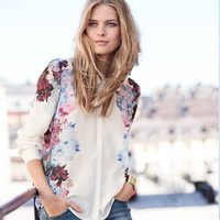 Floral Long Sleeve Chiffon Blouse