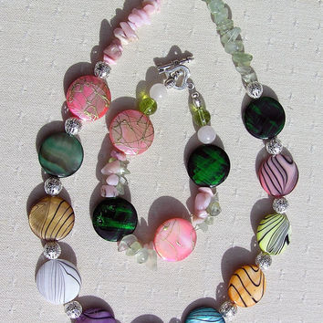 "Necklace & Bracelet Set - Mother of Pearl with Prehnite and Pink Opal Gemstones - ""Rainbow Fantasia"""