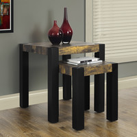 Distressed Reclaimed-Look/Black 2 Piece Nesting Table Set