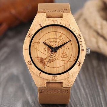 Natural Mens Wooden Wrist Watch Casual Dress Style Engraved Fish Handicraft Dial Light Bamboo Wood Relogio Gifts Genuine Leather