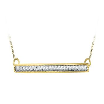 10kt Yellow Gold Womens Round Diamond Horizontal Bar Pendant Necklace 1/10 Cttw