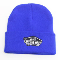 Vans Off The Wall Beanie Womens & Mens Warm Winter Knitted Cotton Unisex Blue Cuffed Skully Hat